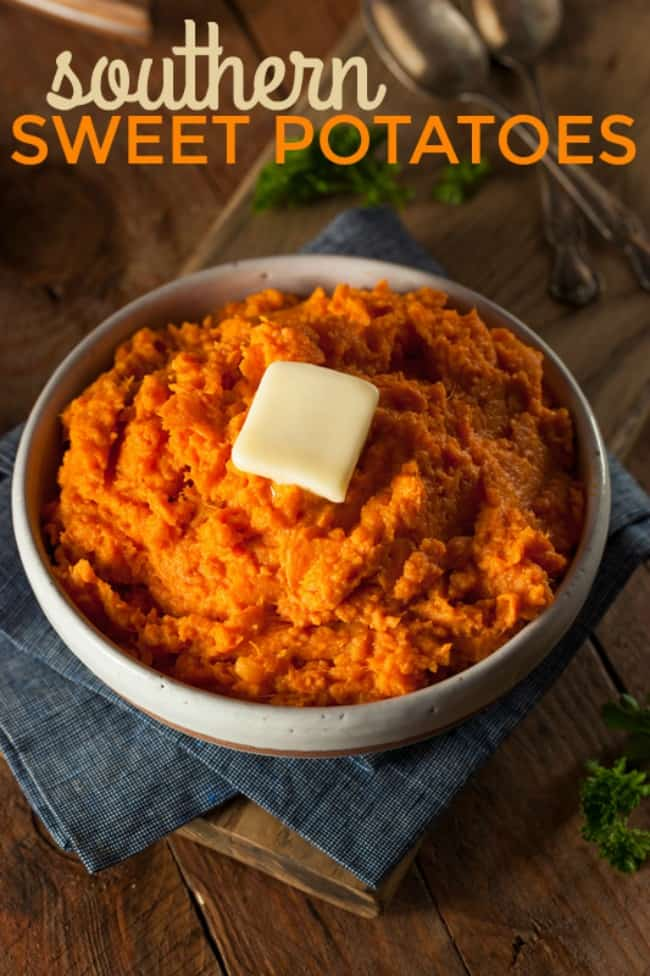 Southern candied sweet potatoes are a traditional southern side dish that's a holiday and potluck must. Made with just three simple ingredients, these candied sweet potatoes couldn't be any easier or more delicious! #Thanksgiving #SweetPotatoes #SouthernDishes #CandiedYams #ThanksgivingRecipes