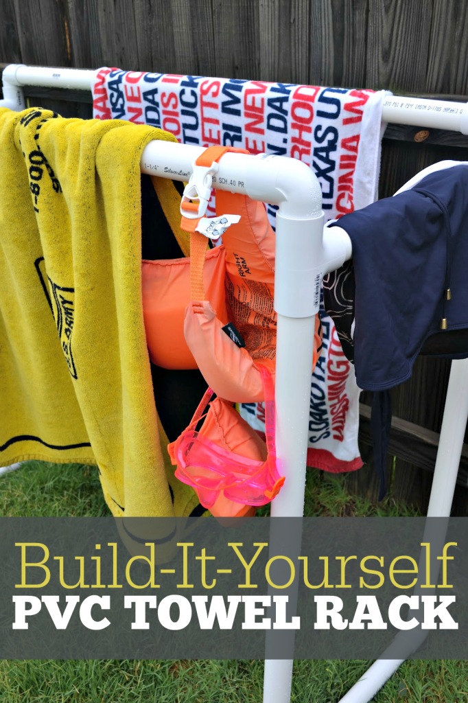 How to build a functional PVC pool towel rack. A simple DIY that is perfect for your backyard pool needs. The rack will keep dripping towels and suits off the floor and out of the house. #PVCProjects #PoolIdeas #DIYTowelRack #PVCPoolProjects