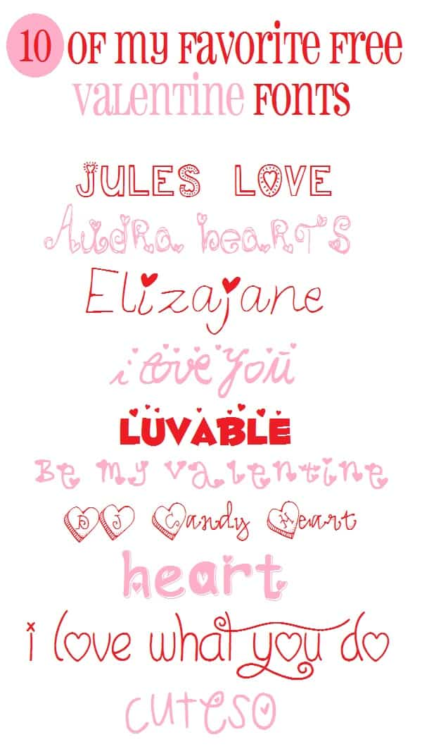 If you are a lover of super cute fonts then don't miss out on these fun and free Valentine fonts. Perfect for any holiday craft! #fonts #valentinesday #valentinefonts #valentinesdayfonts
