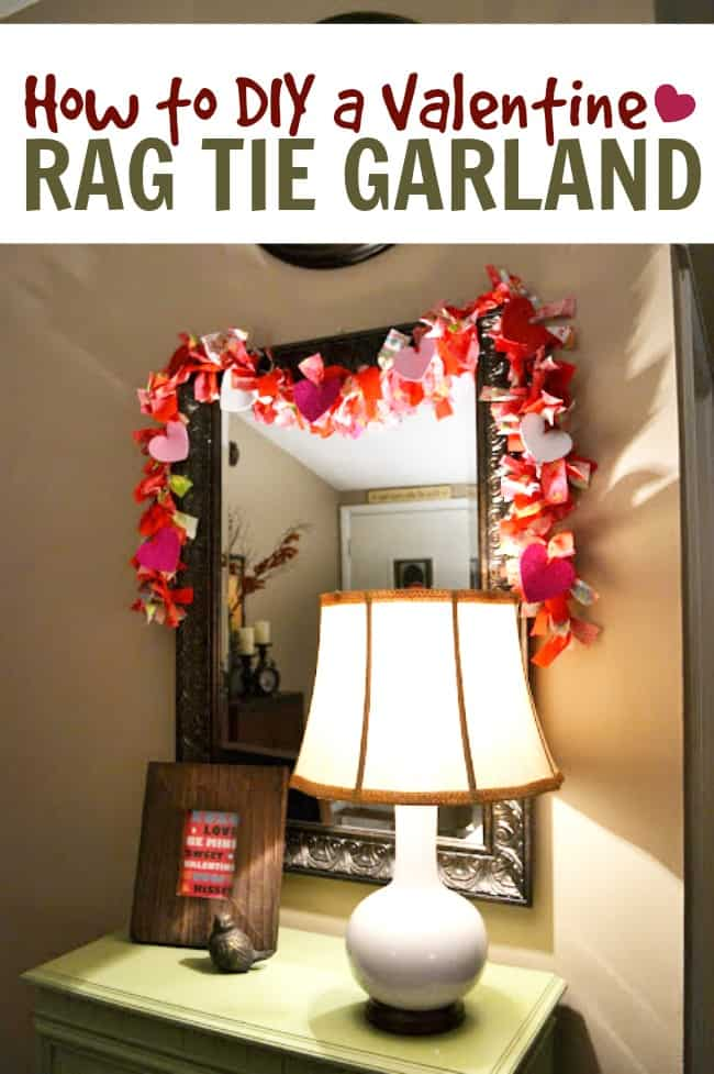 A rag tie garland is one of the easiest types of homemade garlands you can create. All you need string and fabric strips. Great for all holidays! #RagTieGarland #RagTieCrafts #ValentinesDay #ValentinesCrafts