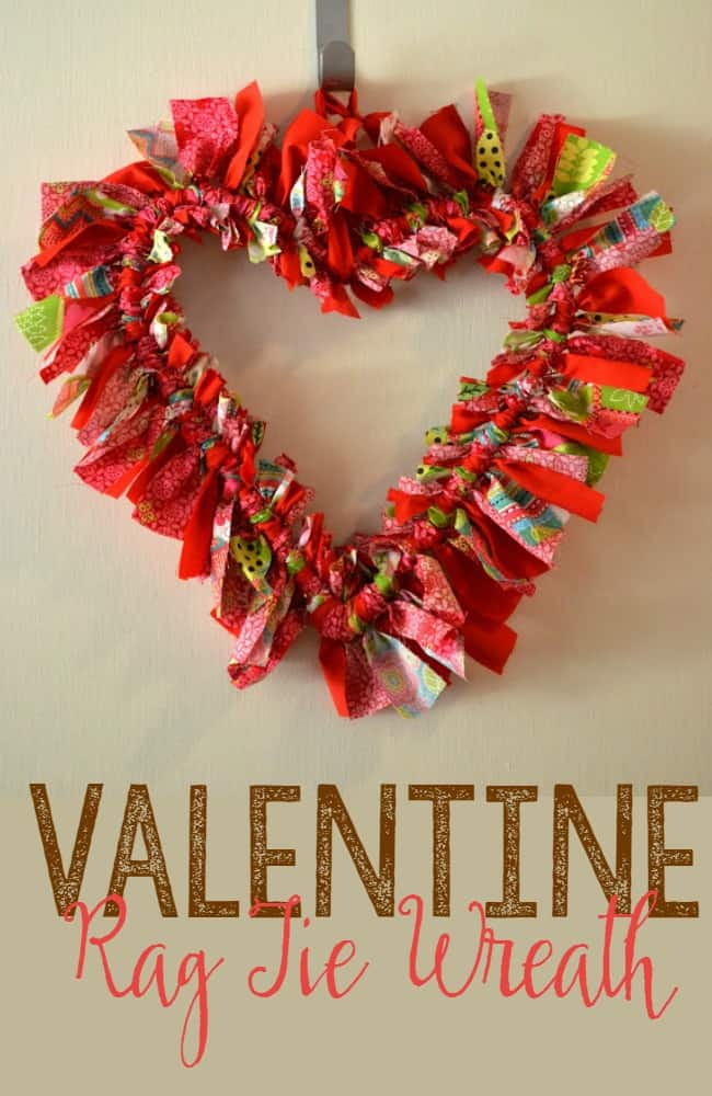 You can create this rag tie wreath using all of your favorite Valentine fabrics.