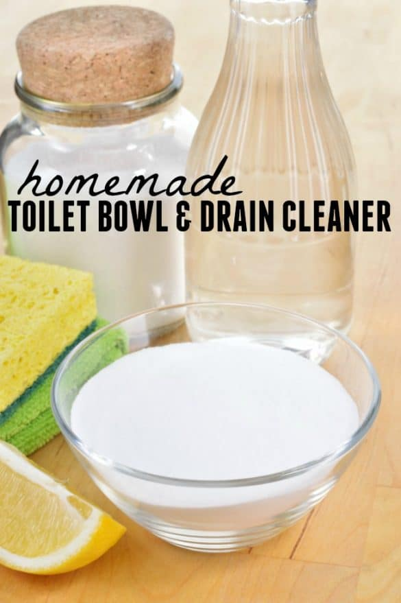 How to clean your toilet bowl and drains (for the kitchen or bath) using this homemade toilet bowl and drain cleaner mixture. No harsh chemicals!
