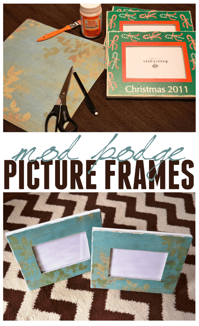How to mod podge picture frames. A great way to custom your own frames with your favorite decorative paper.