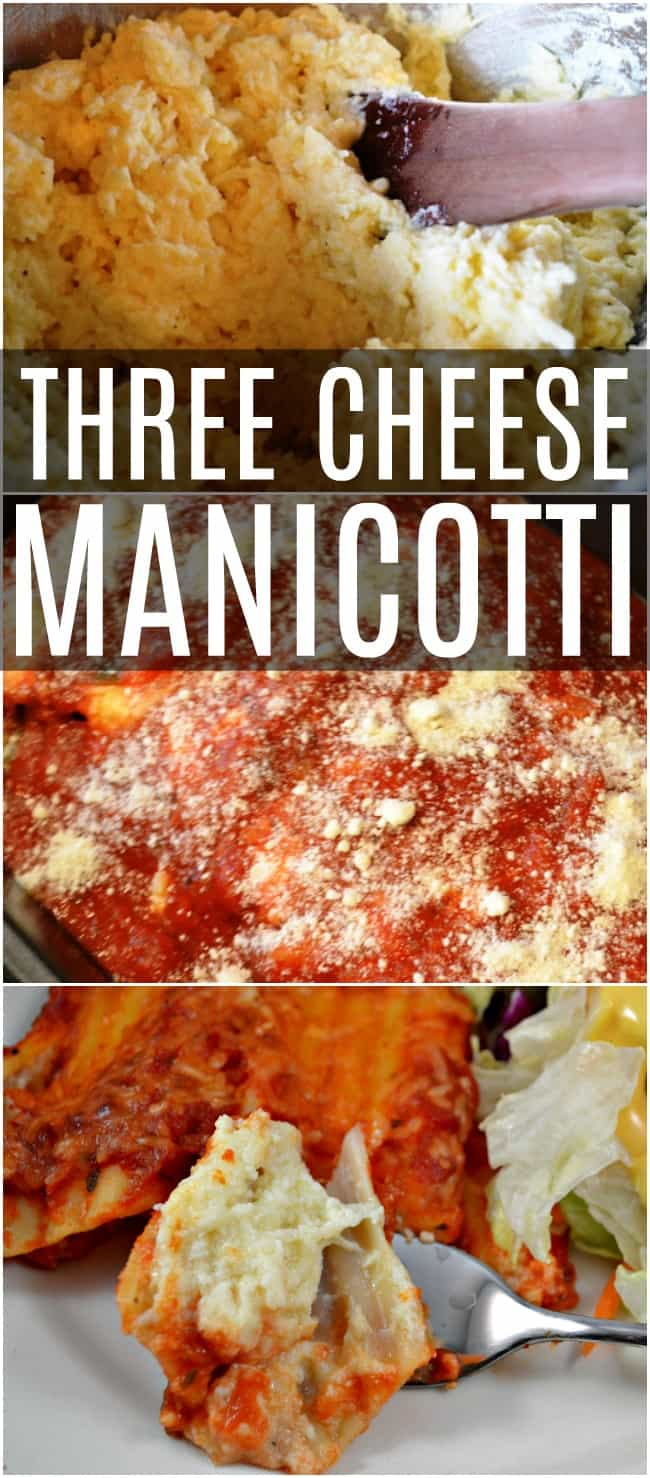 Pasta and cheese, what's not to love! This three cheese manicotti recipe is one of our all time favorite meals. We like to have it with a side salad and Texas toast. Yum! #ThreeCheeseManicotti #3cheesemanicotti #manicotti