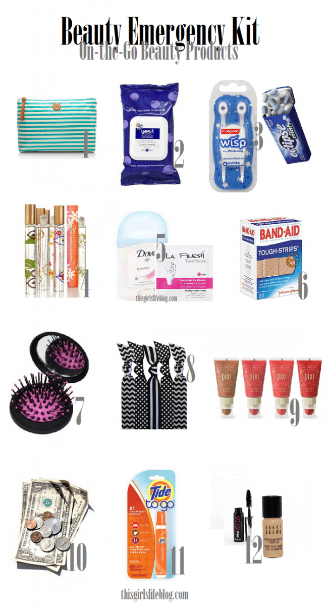 You may need a quick pick-me-up at school or even work either way you can't go wrong with having a beauty emergency kit stashed away in your purse, car or locker. These little handy kits will get you from daytime to playtime. #BeautyEmergencyKit #Beauty #OnTheGoBeautyProducts #BeautyProducts #PromNight #DateNight