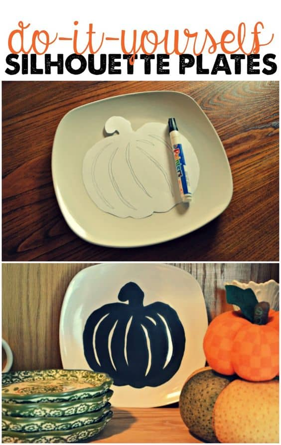 Halloween silhouette plates are aninexpensive and incrediblyeasy way to decorate your homethis Halloween season. #Halloween #DIY #SilhouettePlates #DollarStoreCrafting #crafts