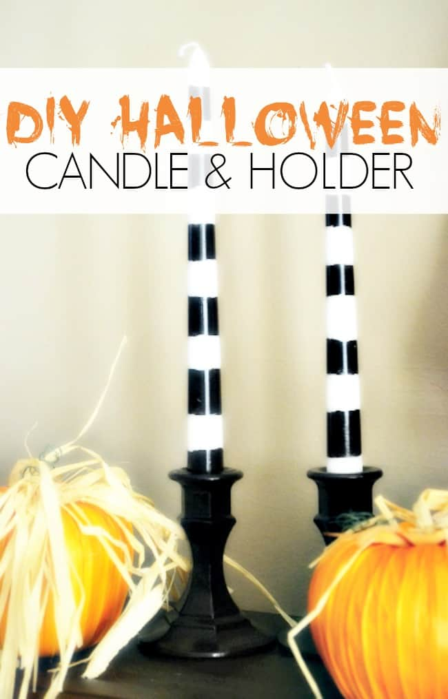 Decorate your home for the holidays on a budget this Halloween with these Halloween Candles and Holders. Perfect for your spooky buffet table!  #Halloween #DIY #Candles #Candleholders #Crafts #DollarStoreCrafting
