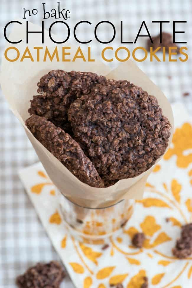 If you are looking for an easy to make and no baking required cookie recipe then these Chocolate Oatmeal Cookies are for you.