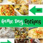 If you are on the hunt for some delicious game day recipes for the Super Bowl or any other football game then you will want to try these. Whether you're a football fanatic or just in it for the halftime show, game day requires serious snacks.  Make your house football headquarters with these recipes for appetizers, dips, and desserts. #GameDayRecipes #FootballNight #Superbowl #GameDay #BigGameRecipes #FingerFoods