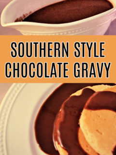 This photo features a gravy boat of chocolate gravy and it also poured over a white plate of pancakes.