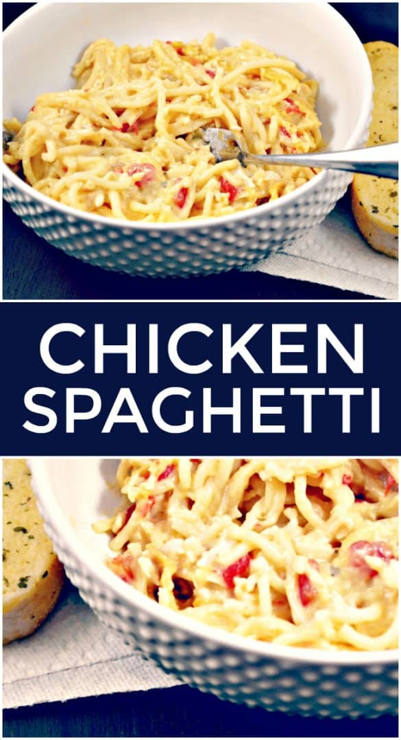 There is nothing that says comfort food quite like this cheesy, chicken spaghetti casserole dish. A dish that all the kids love because well; pasta, cheese, and chicken. You really can't go wrong. #ChickenRecipes #ChickenSpaghetti #SpaghettiRecipes