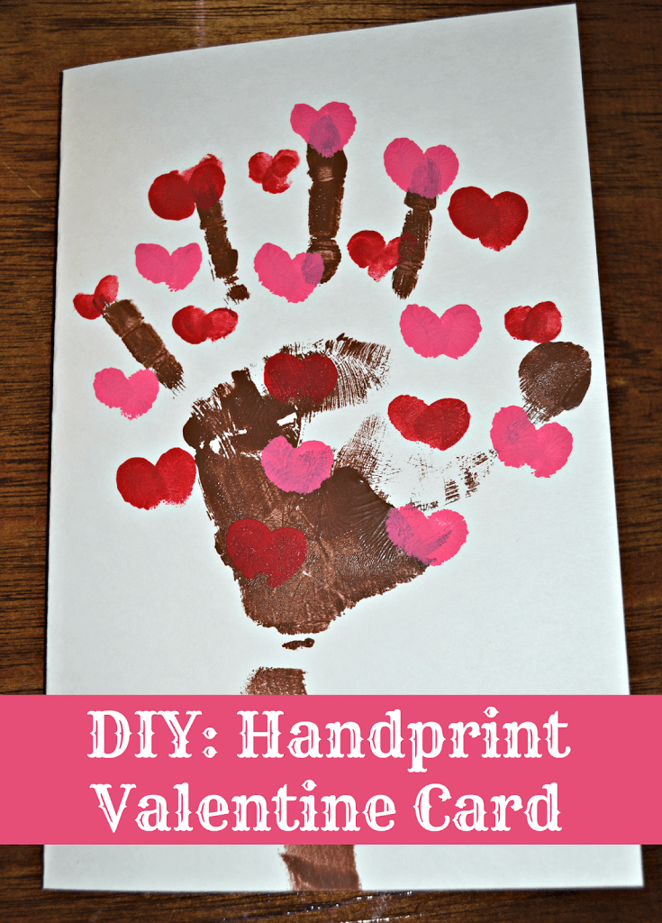 Handprint Valentine's Day Card: Easy and Inexpensive way to create a cute Valentine's Day card using paint and your fingers.