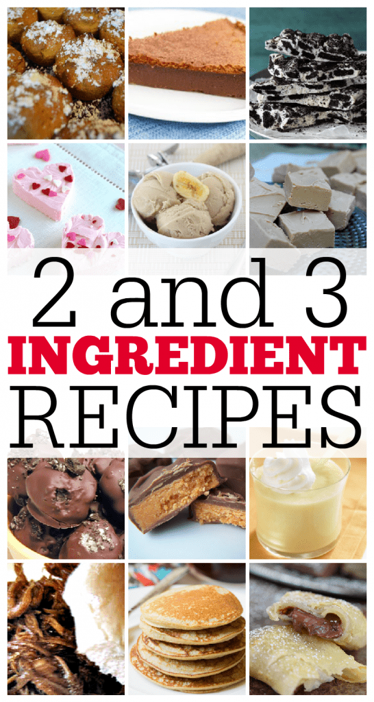 12 quick, easy and delicious 2 and 3 ingredient recipes. These all consist of mainly desserts but hey dessert is the best part of any meal.