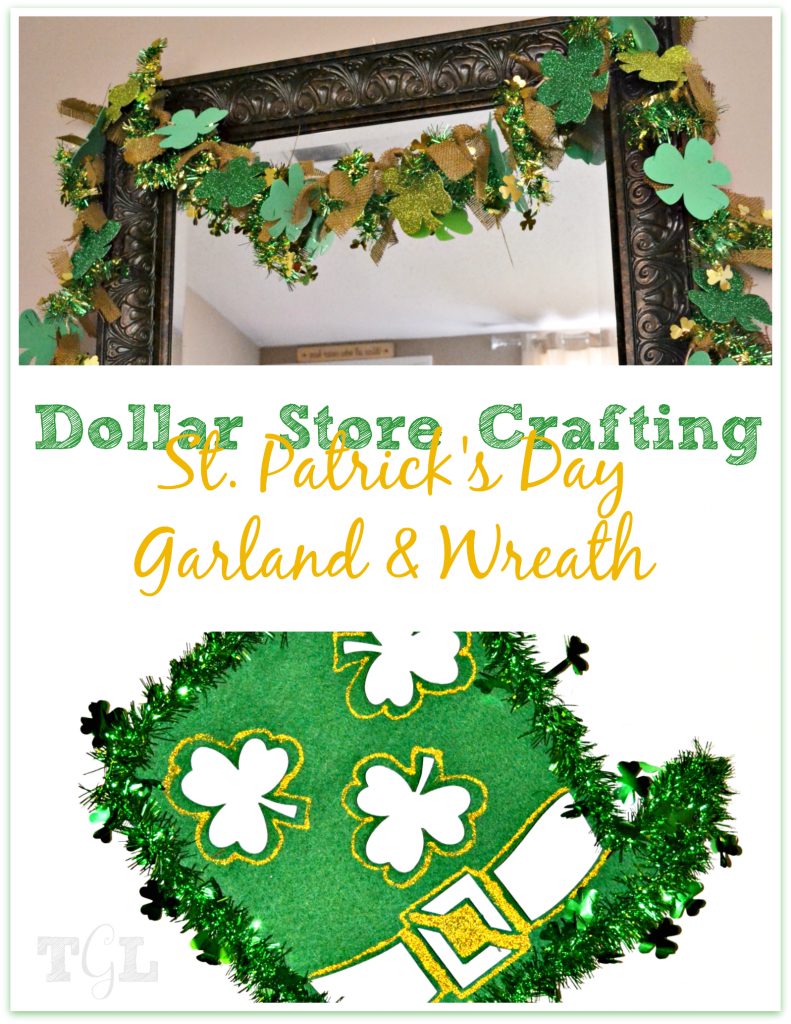 Dollar Store Crafting: St. Patrick's Day Garland & Wreath | This Girl's Life Blog