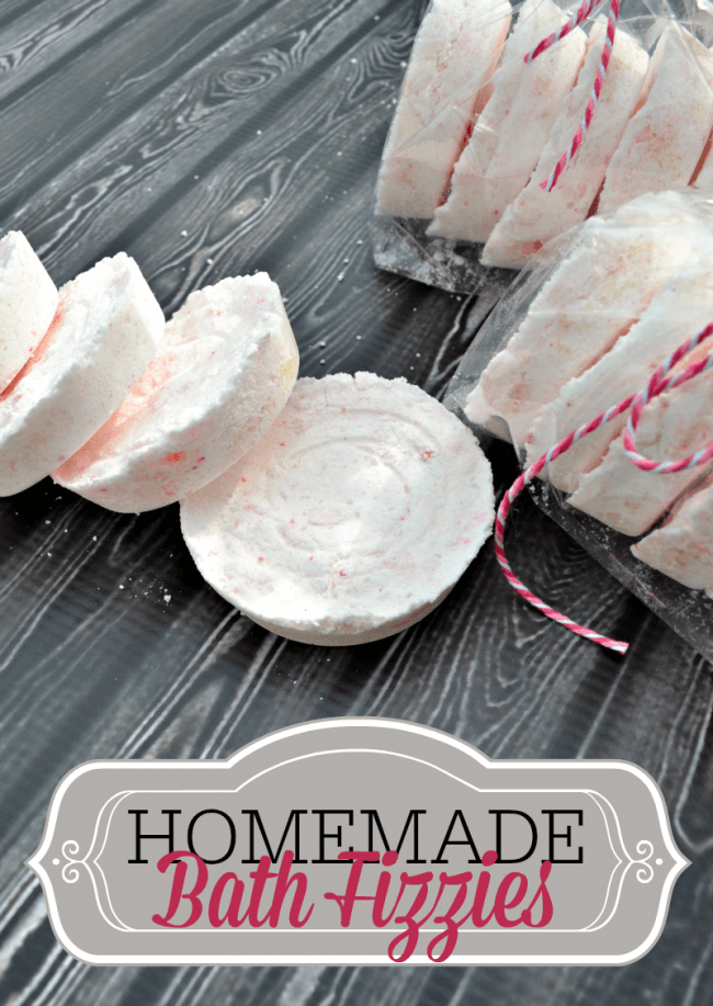 Learn how to make homemade bath fizzies, also called homemade bath bombs. Packaged up with a bag and ribbon or in a jar make a cute handmade gift.