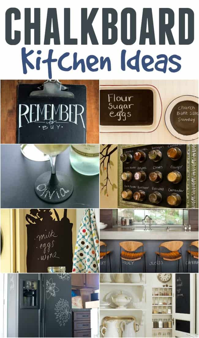 9 amazing chalkboard kitchen ideas! Bring chalkboard paint into your kitchen by painting a wall, door, cabinets, kitchen items and more.