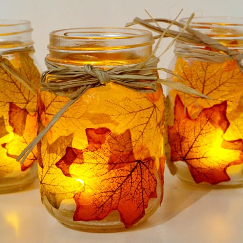 maple-leaf-decoupaged-mason-jars