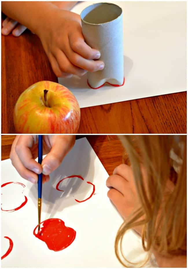 Apple Stamping with paper rolls