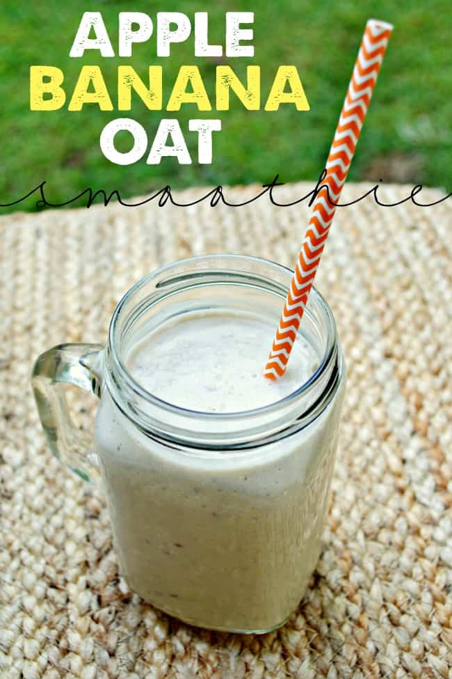 This apple, banana, & oat smoothie is thick, creamy, fruity, and quick to make for a delicious breakfast treat.