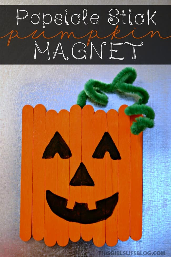 Get your kids involved in crafting this fall and Halloween season with these super cute Popsicle Stick Pumpkin. He can be turned into a magnet to make him fridge friendly.