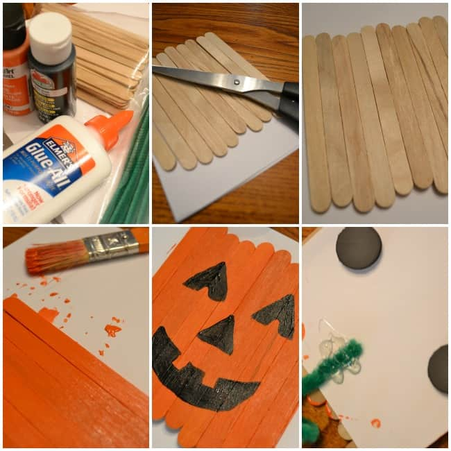 Popsicle Stick Pumpkin Magnet Tutorial