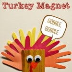 Hand Print and Popsicle Stick Turkey Magnet