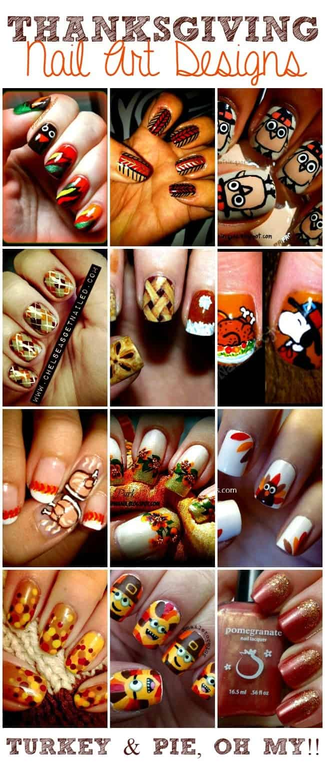 Thanksgiving Nails with turkeys, pies, pilgrims and pattern designs
