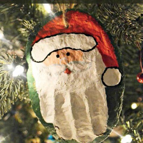 Hand Print Santa Salt Dough Ornament