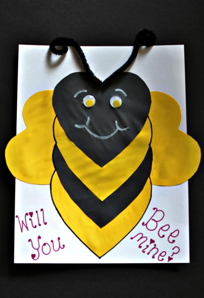 Will you 'Bee mine Valentine Card'! Love this super cute Valentine's Day paper craft.