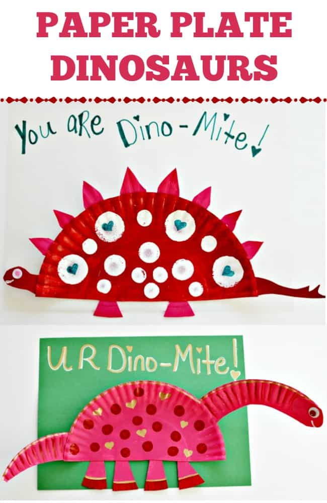 Create a Stegosaurus or Apatosaurus paper plate dinosaur craft with your kids this Valentine's Day. Super cute and simple craft for everyone to enjoy.