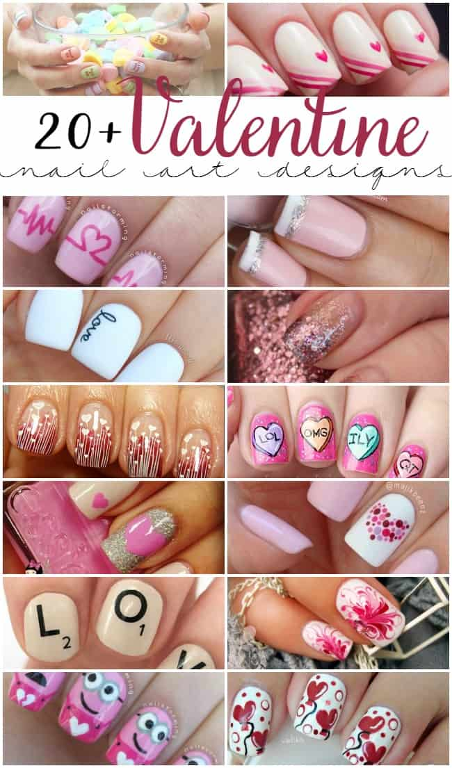 Photo showing all the different styles of Valentine nails from conversation hearts to french tips.
