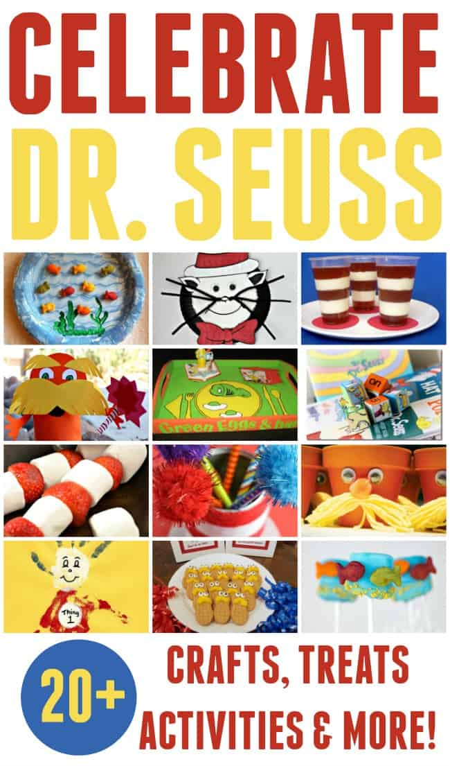 Celebrate Dr. Seuss's birthday, March 2nd, with these awesome and easy Dr. Seuss crafts, treats, activities and more. #DrSeuss #DrSeussCrafts #March2nd #DrSeussDay