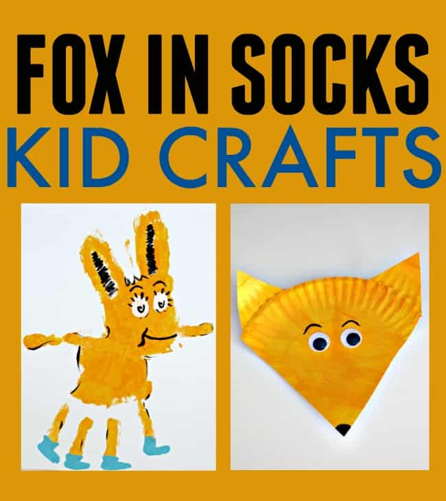 Celebrate Dr. Seuss with one of these cute and creative Fox In Socks craft ideas. Both incredibly easy for even the youngest creators. #FoxInSocks #DrSuessCrafts #FoxInSocksCrafts #FoxInSocksDrSeuss