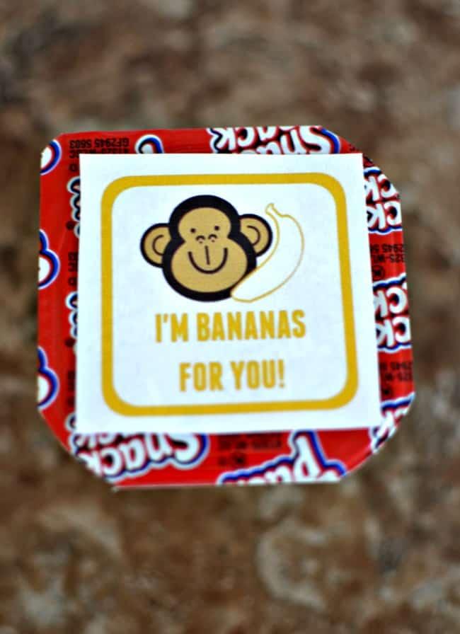"""""""I'm Bananas for you"""" Pudding Cups printable"""
