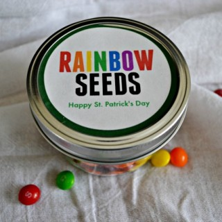 """Gift your favorite Leprechaun this super cut St. Patrick's Day """"Rainbow Seeds"""" gift in a jar."""