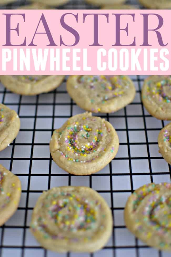 These pinwheel cookies are quick and easy and perfect for a Easter treat.