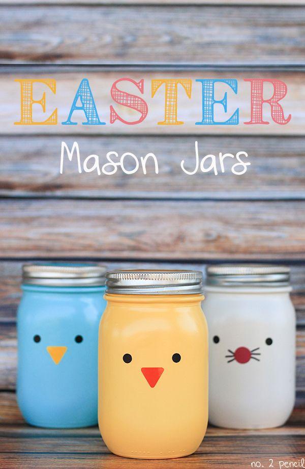 Easter mason jar gift ideas easter character mason jars negle Choice Image