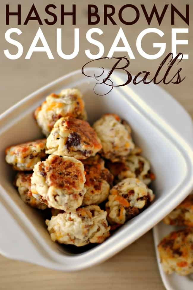 This photo features a white bowl full of hash brown sausage balls.