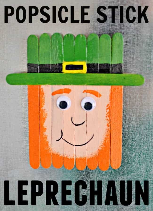 Craft this super cute Popsicle stick leprechaun for St. Patrick's Day with your kiddos.
