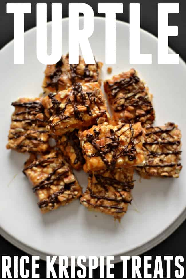 Take your favorite treat for childhood and turn it into something a little more decadent with this turtle rice krispie treat recipe.