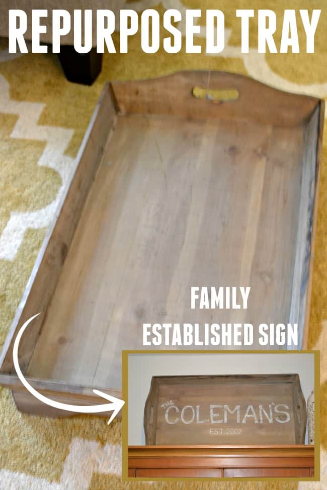 How to turn a tray into a family established sign. Repurpose new or old items to fit your needs.