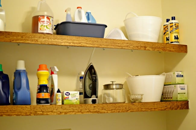 Need a simple solution on how to hide ugly wire shelving in your rental? Check out this inexpensive and clever idea on getting those shelves looking great.