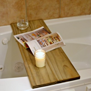 Create this DIY tub table / shelf with a spare 30 minutes and less than $15. Perfect for spa night!