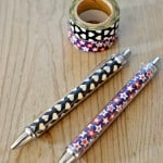 Make your own custom pen with washi tape. Great for changing out designs for the holidays or making custom designs for gifts.