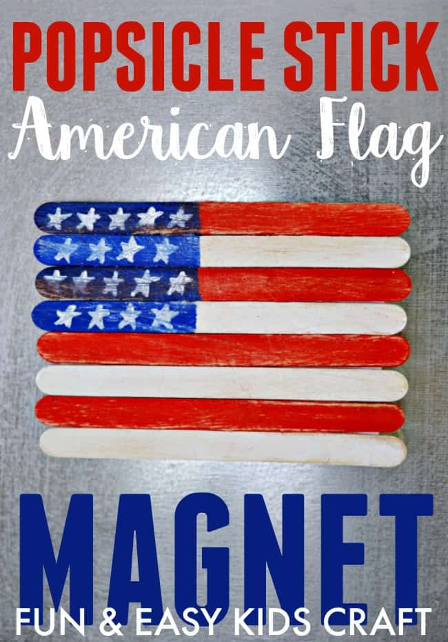 Create this fun and easy popsicle stick American flag magnet with your kiddos today. Great craft for Memorial Day, Flag Day and the Fourth of July.