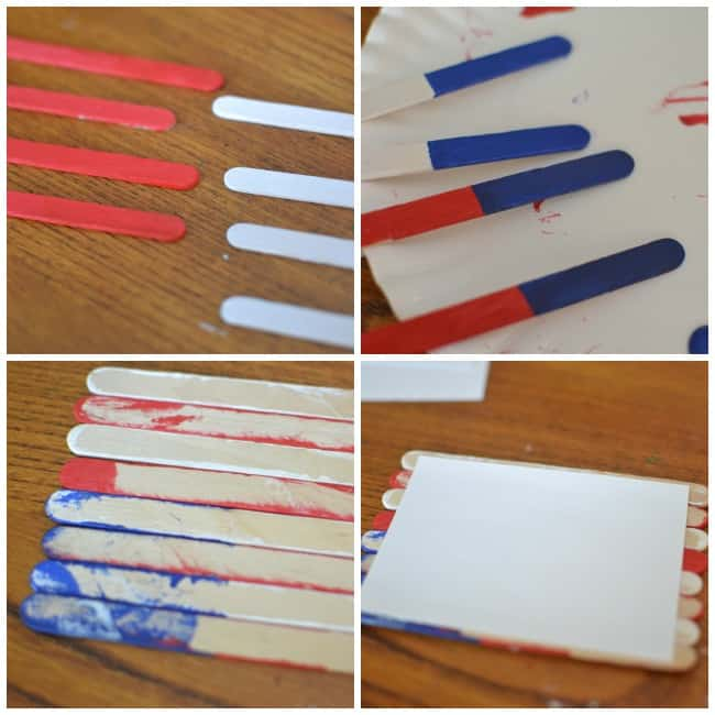 Create this fun and easy popsicle stick flag magnet with your kiddos today. Great craft for Memorial Day, Flag Day and the Fourth of July.