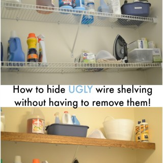 Love this simple solution to hiding ugly wire shelving in my rental.