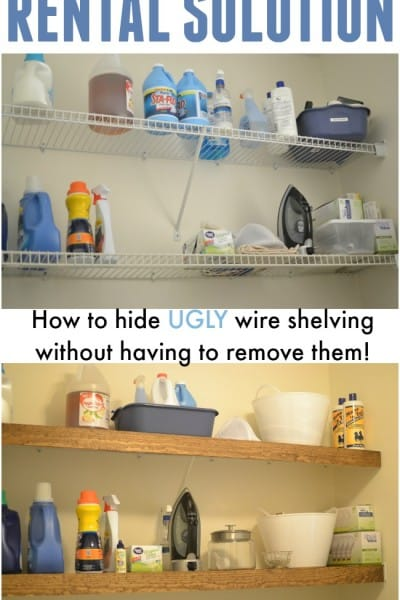 Rental Solution: How to hide UGLY wire shelving!