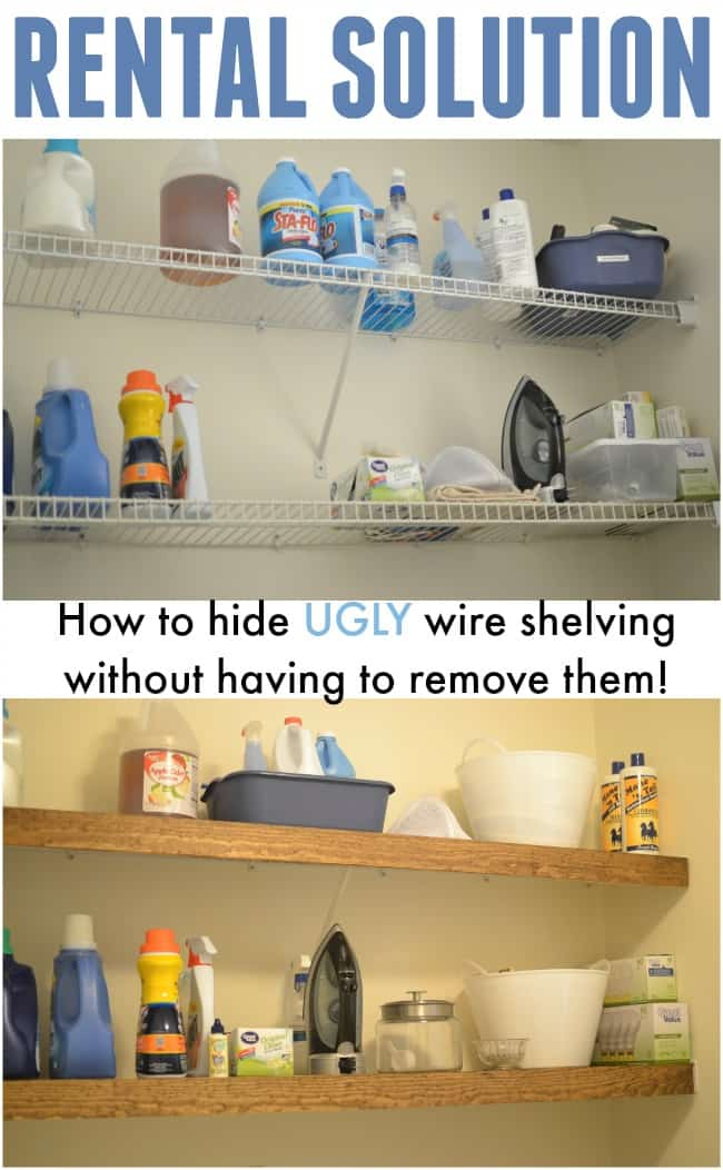 Need a simple solution on how to hide ugly wire shelving in your rental? Check out this inexpensive and clever idea on getting those shelves looking great. #rentalhacks #rentalsolutions #rentaldecor #howtohidewireshelving #wireshelving