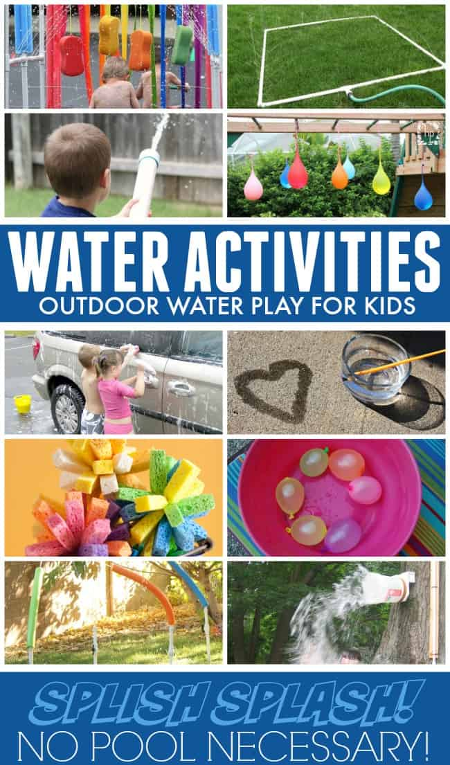 Water activities for kids are the perfect way to set summer off with a splash. A great way to cool off in this hot summer heat and keep your kids moving and enjoying the outdoors. No pool required! #wateractivities #forkids #activitiesforkids #summerfun #summertime